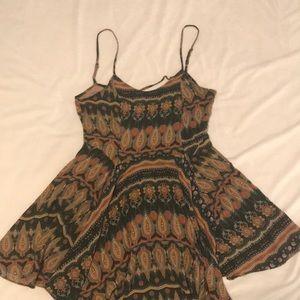 Print open tie back dress